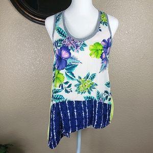 Zara W&B collection asymmetrical floral tank top